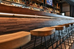wood panel bar front w/ cherry armrest