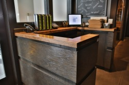 hostess stand w/ distressed cherry top